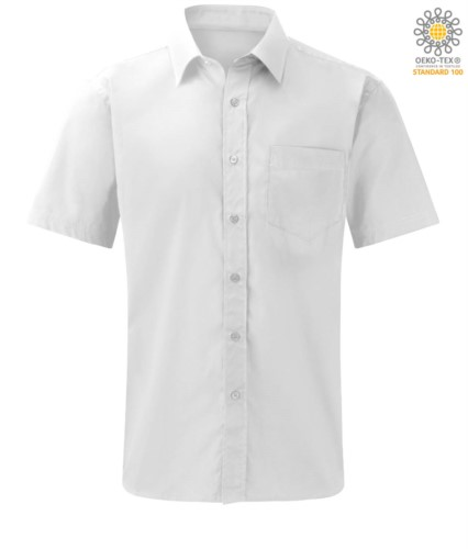 Herren Kurzarmhemd fuer die Arbeit Uniform Farbe Weiss