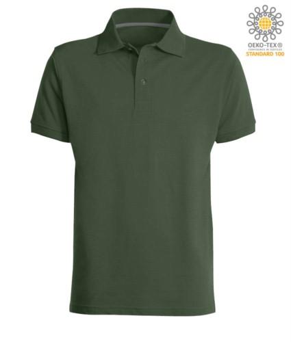 Kurzarm Poloshirt mit Drei Knopf Verschluss, 100% Baumwolle, Farbe grün