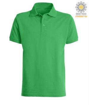 Kurzarm Poloshirt mit Drei Knopf Verschluss, 100% Baumwolle, Farbe Jelly Gruen