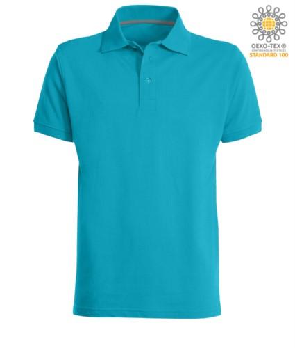 Kurzarm Poloshirt mit Drei Knopf Verschluss, 100% Baumwolle, Farbe blau atoll