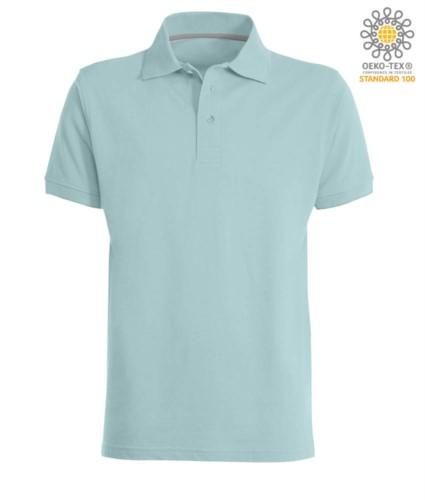 Kurzarm Poloshirt mit Drei Knopf Verschluss, 100% Baumwolle, Farbe aquamarin