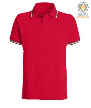 Kurzaermeliges Poloshirt mit italienischer Paspel an Kragen und Aermeln, aus Baumwolle. rot Farbe