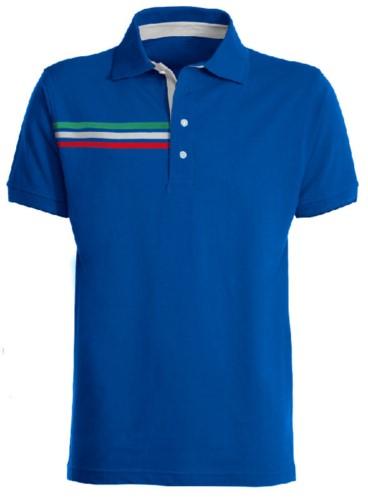 Kurzaermeliges Poloshirt mit dreifarbigem Detail auf der rechten Brust, kontrastfarbenem Innenkragen und Revers. Koenigsblaue Farbe - Italienische Flagge