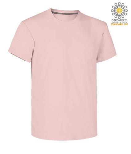 Herren Kurzarm Rundhalsausschnitt aus Baumwolle T-Shirt, Farbe rosa Schatten