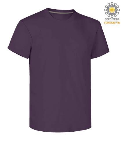 Herren Kurzarm Rundhalsausschnitt aus Baumwolle T-Shirt, Farbe violettes Indigo