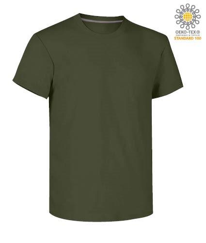 Herren Kurzarm Rundhalsausschnitt aus Baumwolle T-Shirt, Farbe gruen