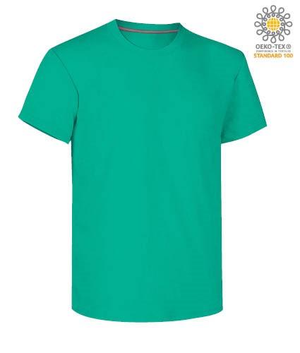 Herren Kurzarm Rundhalsausschnitt aus Baumwolle T-Shirt, Farbe smaradgruen