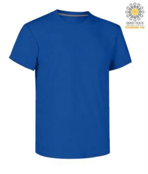Herren Kurzarm Rundhalsausschnitt aus Baumwolle T-Shirt, Farbe koenigsblau