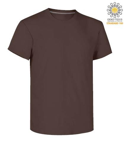 Herren Kurzarm Rundhalsausschnitt aus Baumwolle T-Shirt, Farbe braun