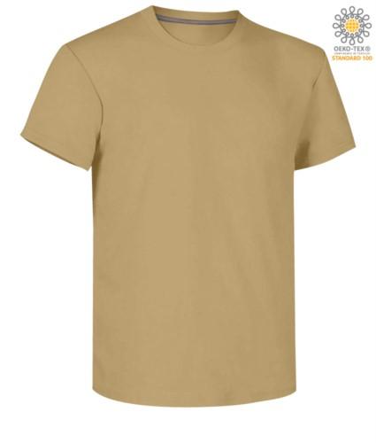 Herren Kurzarm Rundhalsausschnitt aus Baumwolle T-Shirt, Farbe warmes Braun