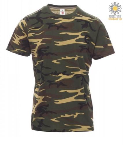 Herren Kurzarm Rundhalsausschnitt aus Baumwolle T-Shirt, Farbe  Camouflage