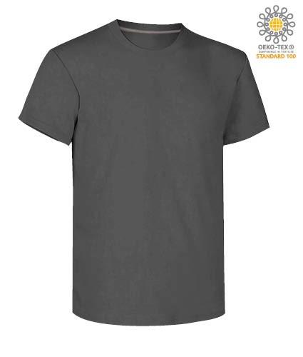 Herren Kurzarm Rundhalsausschnitt aus Baumwolle T-Shirt, Farbe stahl grau
