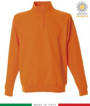 Kurzes Reissverschluss Sweatshirt, gerippter Ausschnitt, gerippte Manschetten und Saum, Made in Italy, Farbe orange