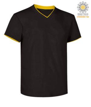 T-Shirt kurzarm V-Ausschnitt, Innenkragen und Unterarm im Kontrast, Farbe schwarz und gelb