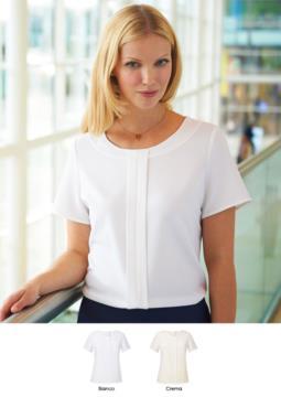 Damen-Kurzarmbluse aus Polyether und Elastan in Weiss und Creme. Verwendung fuer elegante Uniformen von Empfangsdamen, Hoteliers, Hostessen. Fordern Sie ein Angebot an.