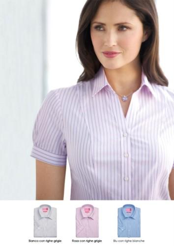 Uniformhemd aus Polyester und Baumwolle mit verdeckten Knoepfen. Bekleidung fuer Empfangspersonal, Hostessen, Hoteliers. Fordern Sie ein kostenloses Angebot an
