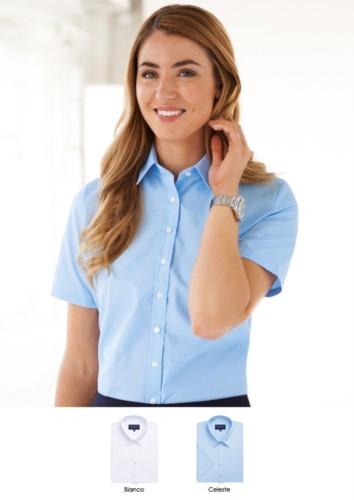 Damen-Buegelleichtes Hemd aus Polyester und Baumwolle. Elegante Kleidung für die Berufskleidung. Grosshandel. Fordern Sie ein kostenloses Angebot an