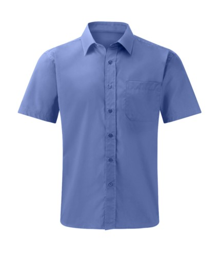 Herrenhemd kurzarm Farbe blau 100% Baumwolle