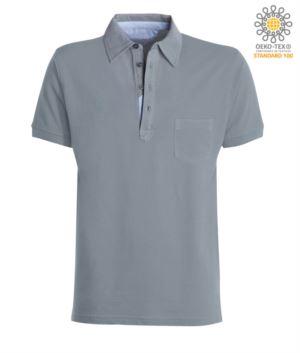 Kurzarm Poloshirt mit Tasche, Kragen mit Oxfordeinsaetzen im Kragen, Farbe Grau