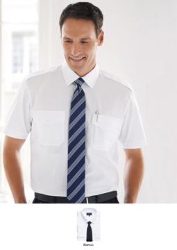 Weisses Hemd mit klassischem Schnitt, Polyester- und Baumwollstoff mit charakteristischem Buegelgenuss.  Ideal fuer Traeger-, Hotel- und Rezeptionistenuniformen