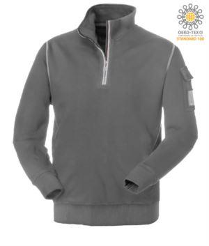 graues Kurz Reissverschluss Arbeitssweatshirt mit Wolfsausschnitt
