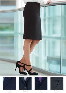 Eleganter Uniformrock aus Polyester und Wolle, erhaeltlich in den Farben Schwarz und Blau. Anti-Faltgewebe.