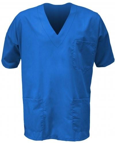 Unisex Krankenhausjacke, V-Ausschnitt, kurze Aermel, linke Brusttasche und aufgesetzte rechte Vordertasche, Farbe blau