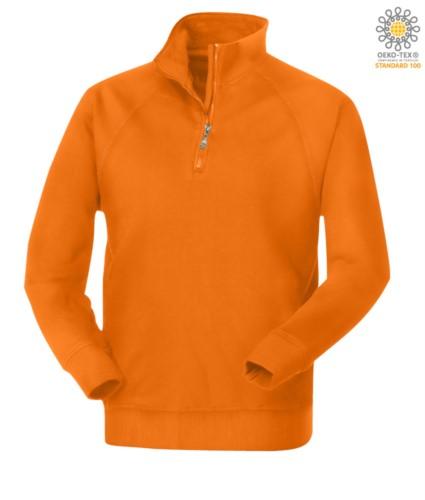 Herren Kurzreissverschluss Sweatshirt in Orange Farbe