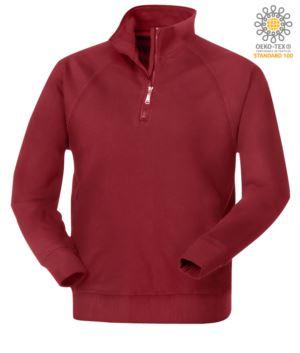 Herren Kurzreissverschluss Sweatshirt in bordeauxfarbener Farbe