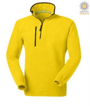 Kurzer Reissverschluss Fleece, zwei Taschen mit einer Reissverschlusstasche. Farbe: gelb