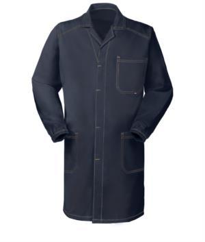 blaues Arbeitsmantel mit abgedeckten Knoepfen und nicht schrumpfbarer Baumwolle