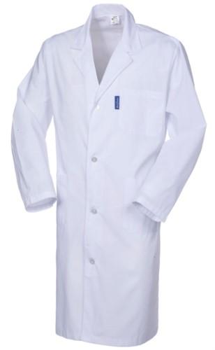 Damenmantel, Langarm, Knopfverschluss, aufgesetzte Tasche, zwei Seitentaschen, elastische Buendchen, weiss, CE-zertifiziert
