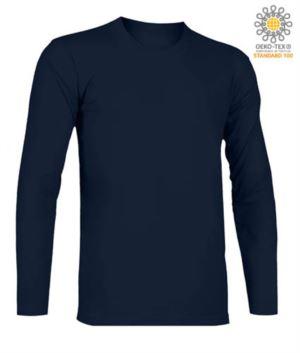 T-Shirt mit langen Aermeln, Rundhalsausschnitt, 100% Baumwolle, Farbe marineblau