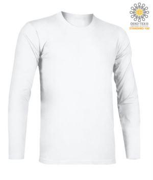 T-Shirt mit langen Aermeln, Rundhalsausschnitt, 100% Baumwolle, Farbe weiss