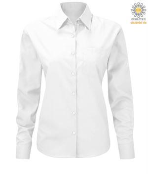 Damen Langarmhemd fuer die Arbeit einheitlich Weiss Farbe