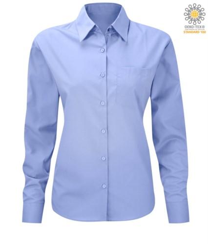 Damen Langarmhemd fuer die Arbeit einheitlich Himmelblau Farbe