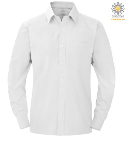 Herren Langarmhemd aus weissem Polyester und Baumwolle