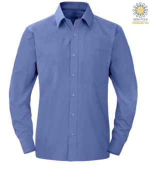 Herren Langarmhemd aus Blau Polyester und Baumwolle