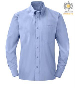 Herren Langarmhemd aus Oxford Blau Polyester und Baumwolle
