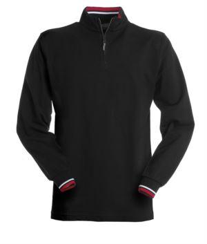 Langarm Poloshirt, mit halbem Reissverschluss, farbiges Profil auf der Innenseite, Kragen und Aermelrand. Schwarz Farbe