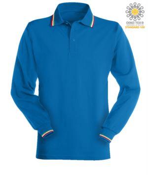 Damen Kurzaermeliges Poloshirt mit italienischer Paspel an Kragen und Aermeln. Farbe koenigsblau