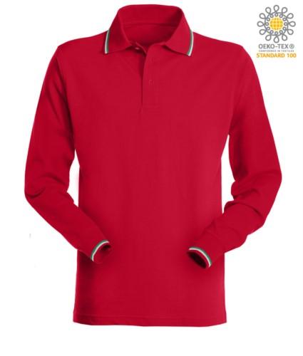 Damen Kurzaermeliges Poloshirt mit italienischer Paspel an Kragen und Aermeln. Farbe rot