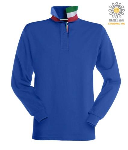 Langaermeliges Poloshirt mit dreifarbigen Elementen am Kragen und am Schlitz. Farbe koenigsblau