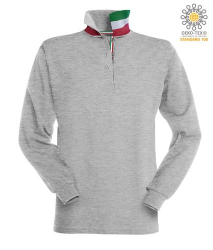 Langaermeliges Poloshirt mit dreifarbigen Elementen am Kragen und am Schlitz. Farbe grau