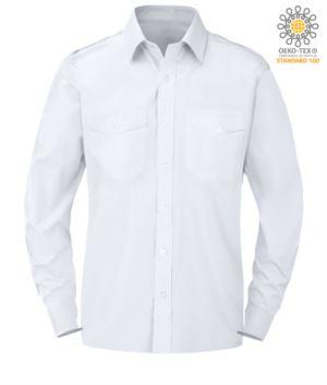 Herren Langarmhemd 100% Baumwolle Farbe weiss