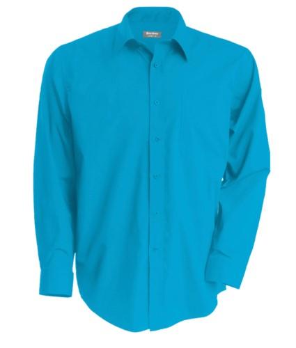 Herren Langarmshirt Tuerkisblau Farbe für den professionellen Einsatz
