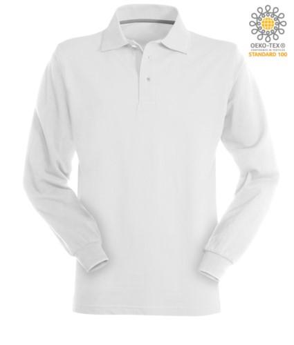 Langaermeliges weiss Baumwollpiquet Polo Shirt aus Baumwolle