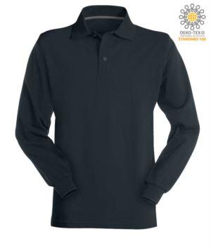 Langaermeliges marineblau Baumwollpiquet Polo Shirt aus Baumwolle