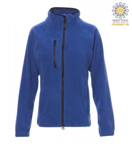 Damen Langer Reissverschluss Fleece mit Brusttasche und zwei Taschen. Doppelter Reissverschluss mit Schiebeverschluss. Farbe: koenigsblau