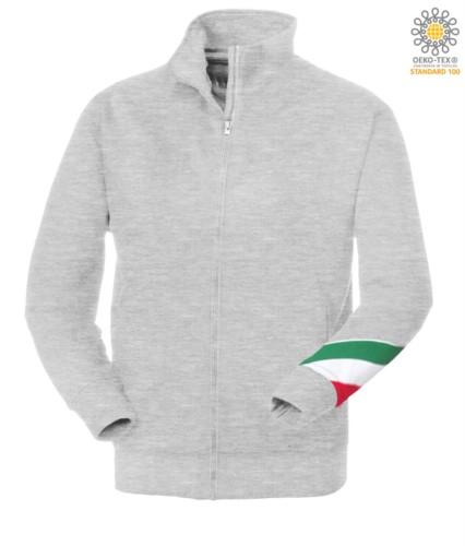 Langprofil Reissverschluss Sweatshirt dreifarbig, gerippter Ausschnitt, Taschenlampe dreifarbig am linken Arm, Ihre offenen Taschen mit Fadenheftung Ribattute, made in Italy, Farbe grau melangefarben